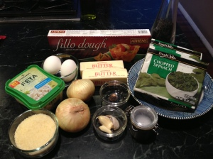 spanakopita - ingredients